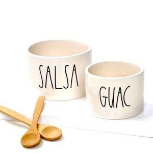 RAE DUNN   NEW Salsa & Quac Serving Bowls w/Spoons